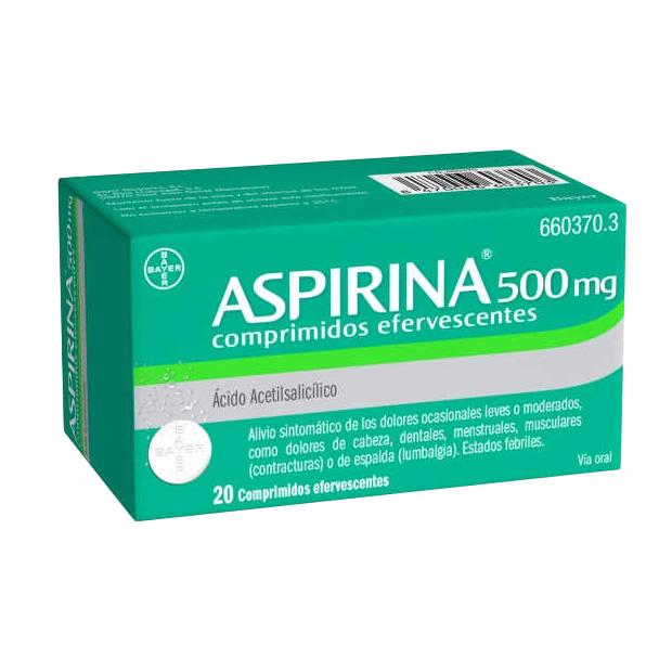 Imagen del producto ASPIRINA 500 MG 20 COMPRIMIDOS EFERVESCENTES
