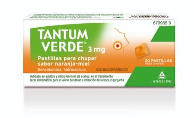 Imagen del producto TANTUM VERDE 3mg  SABOR NARANJA-MIEL 20 PASTILLAS