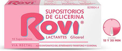 Imagen del producto SUPOSITORIOS DE GLICERINA ROVI LACTANTES 10 SUPOSITORIOS